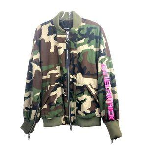 Daniel Patrick Camo Bomber Jacket Pink Lining Embroidery NWT - Oversize Men's XS